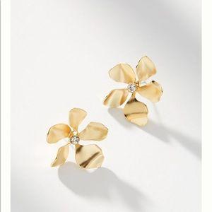 Anthropologie metallic flower post earring